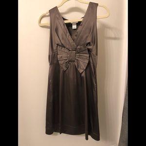 Pewter Satin Bow Dress